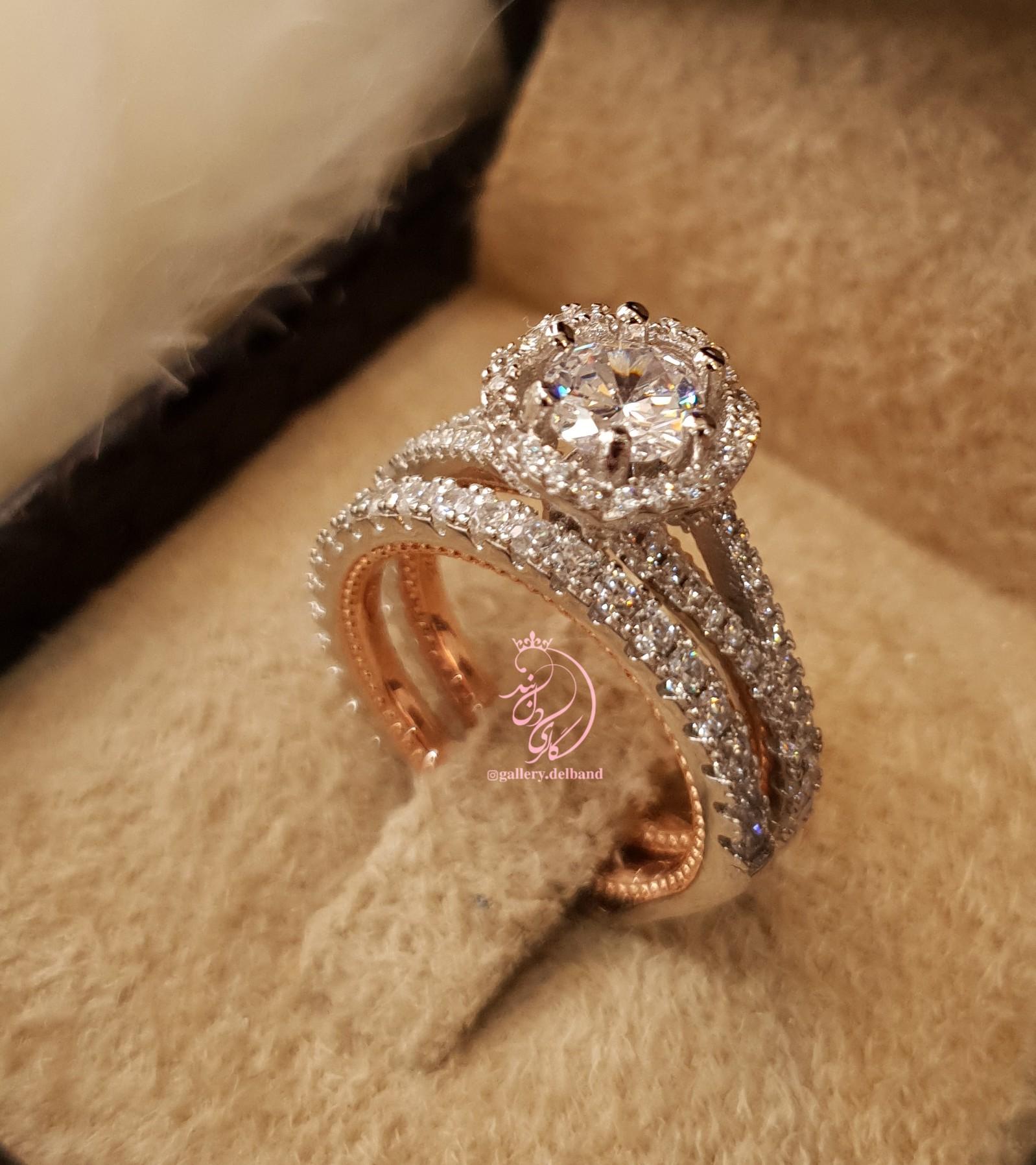 💍حلقه و پشت حلقه جواهری نقره عیار ۹۲۵ با روکش طلا سفید و داخل رکاب رزگلد