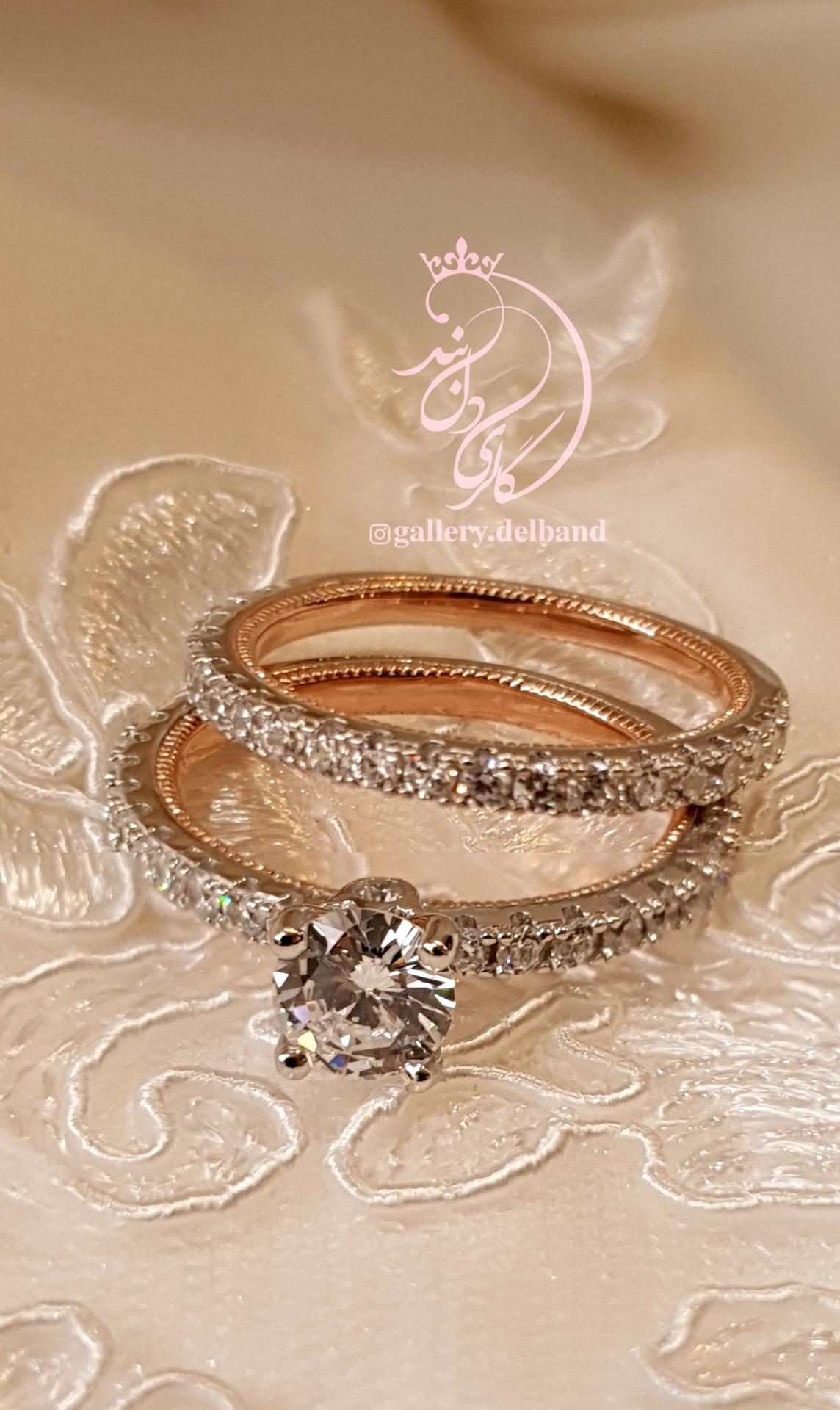 💍حلقه و پشت حلقه جواهری ظریف و زیبا نقره عیار ۹۲۵ با روکش طلا سفید و داخل رکاب رزگلد