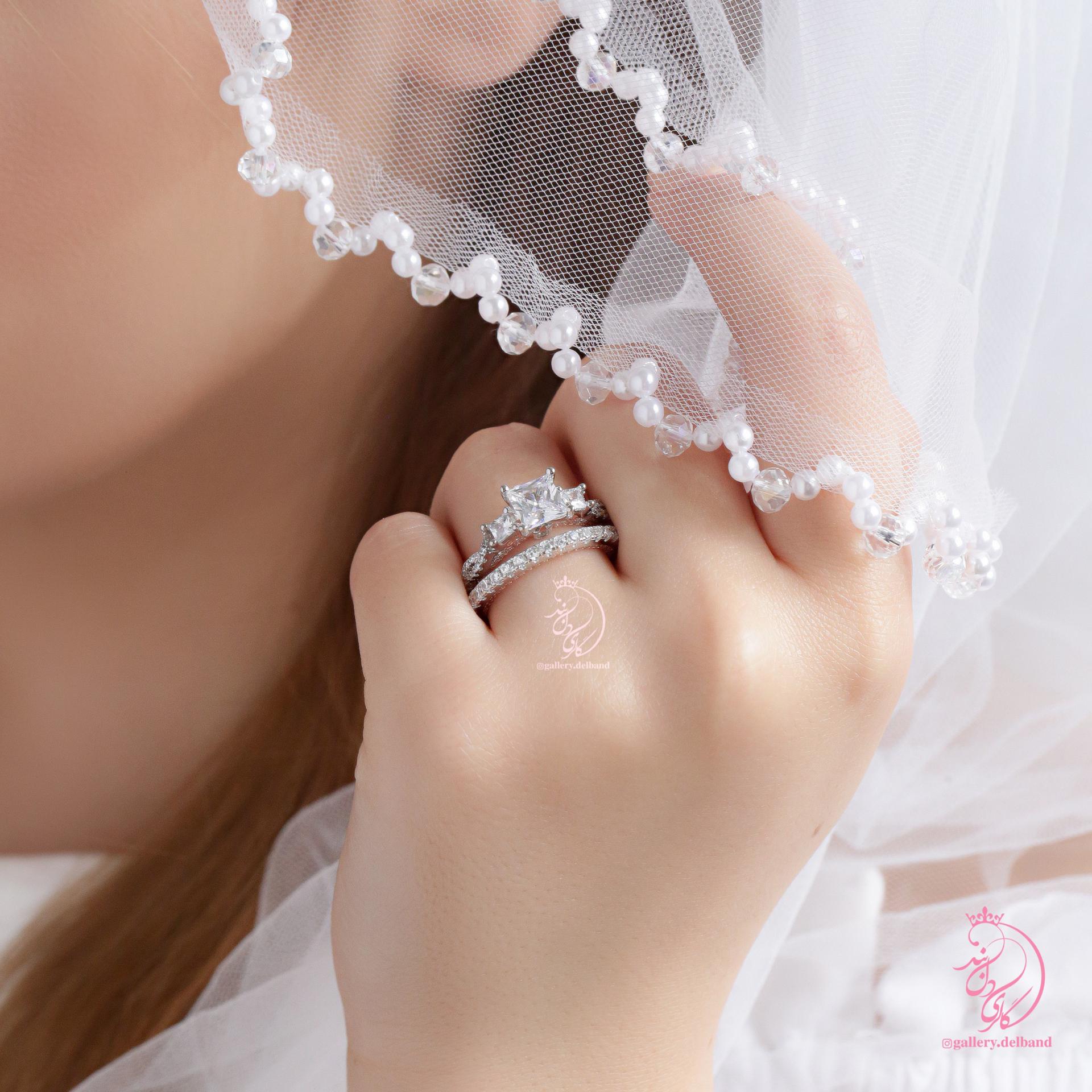 💍حلقه و پشت حلقه جواهری خاص و زیبا نقره عیار ۹۲۵ با روکش طلا سفید و داخل رکاب رزگلد