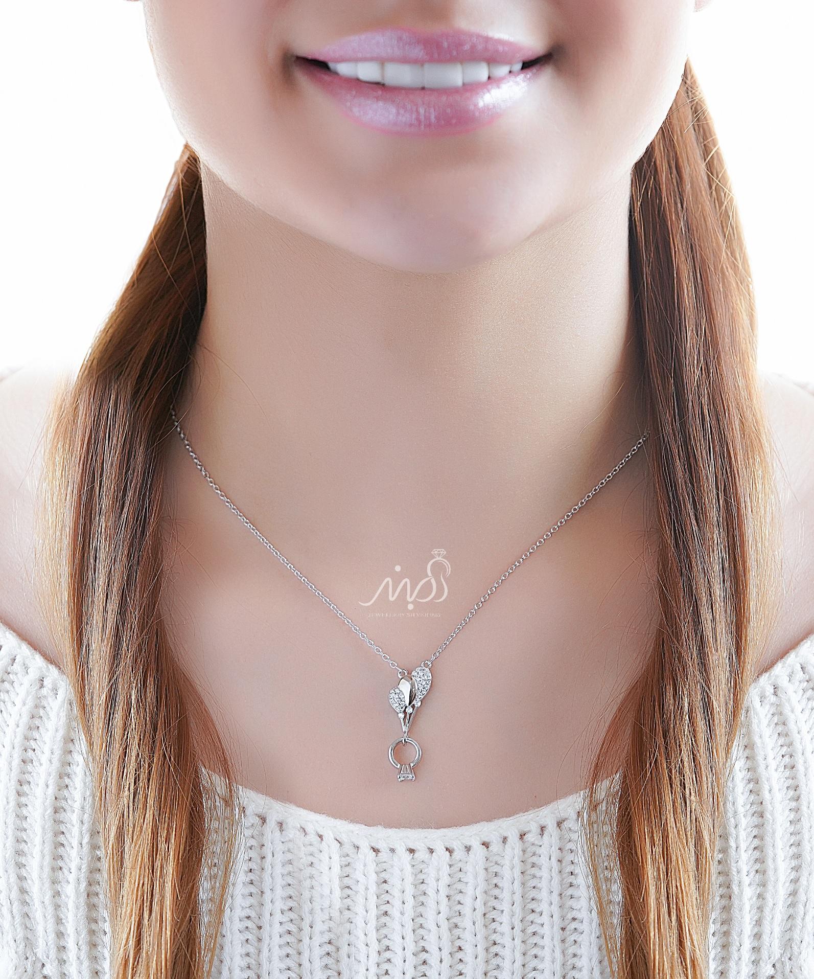 💍گردنبند طرح جواهر بادکنک و حلقه نماد عشق ؛ با طراحی زیبا و ظریف نقره عیار ۹۲۵ با روکش طلا سفید