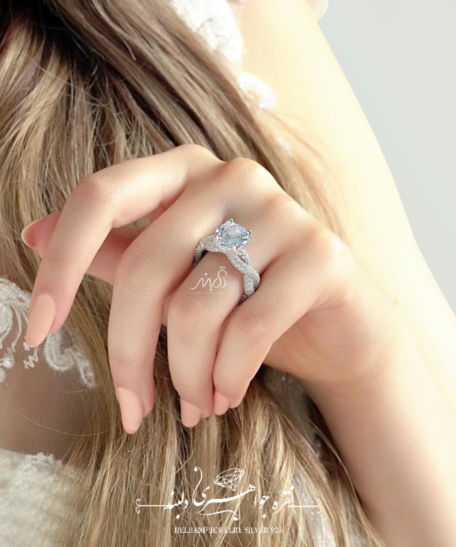 💍انگشتر جواهری سولیتر Round-cut لوکس ؛ با طراحی خاص و زیبا نقره عیار ۹۲۵ با روکش طلا سفید (R_1067)