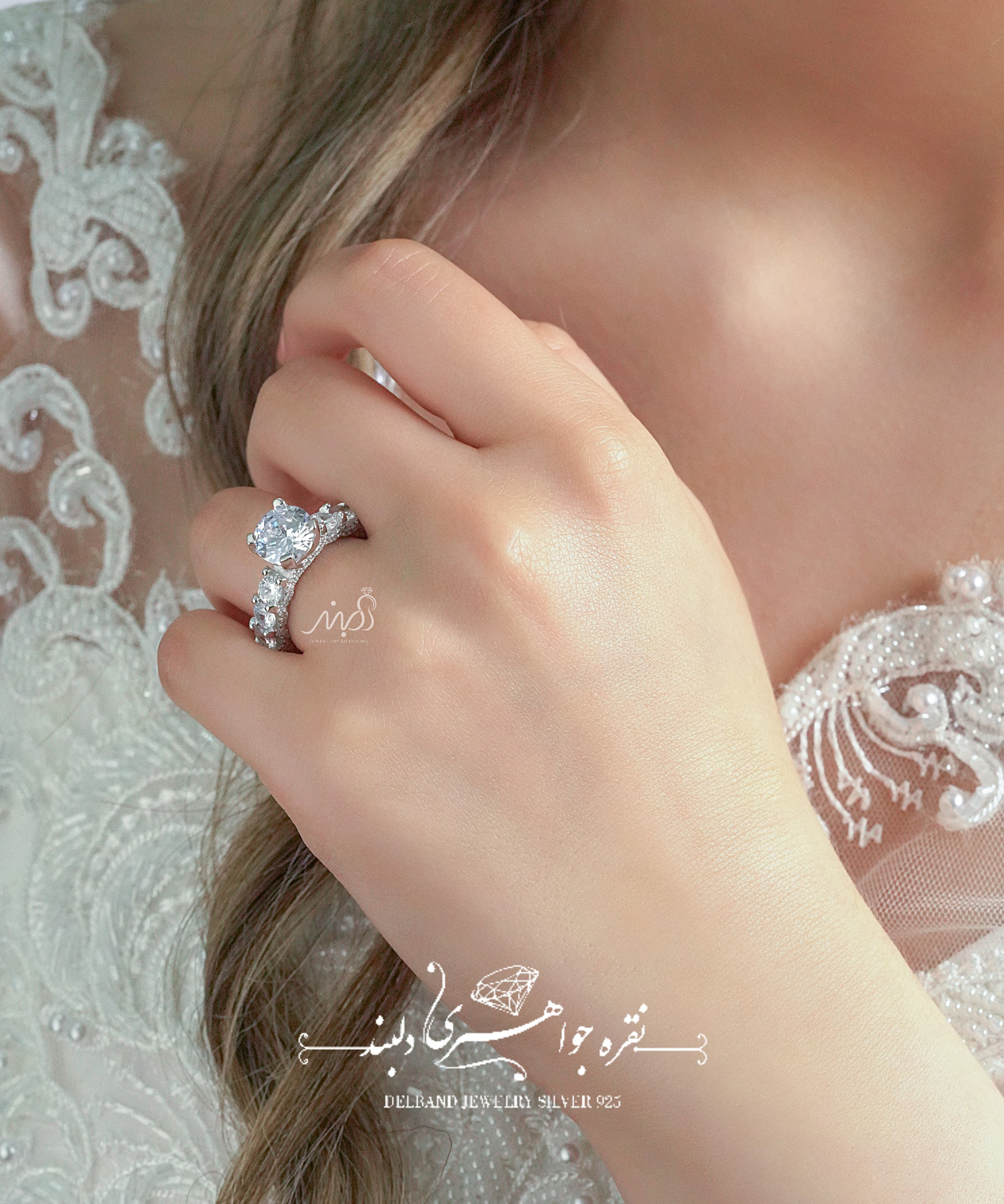 💍انگشتر جواهری سولیتر دورنگین آمریکایی Round-cut ؛ با طراحی خاص و زیبا نقره عیار ۹۲۵ با روکش طلا سفید (R_1068)