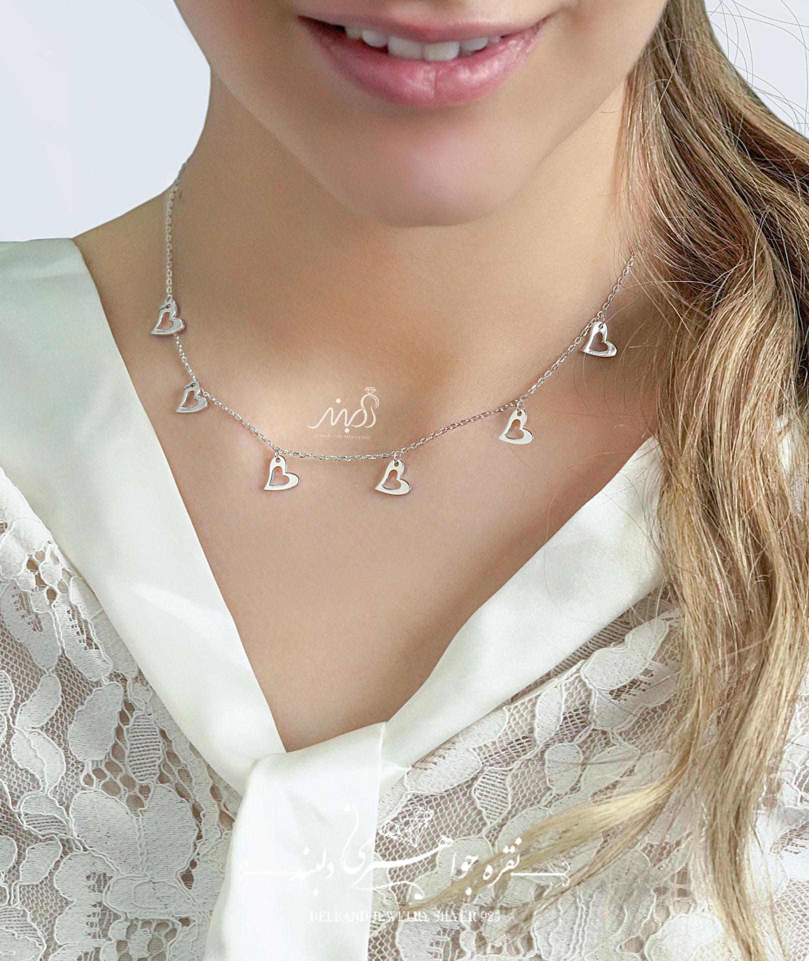💍گردنبند طرح جواهر با آويزهاي قلب ؛ با طراحی زیبا نقره عیار ۹۲۵ با روکش طلا سفید(G_3064)