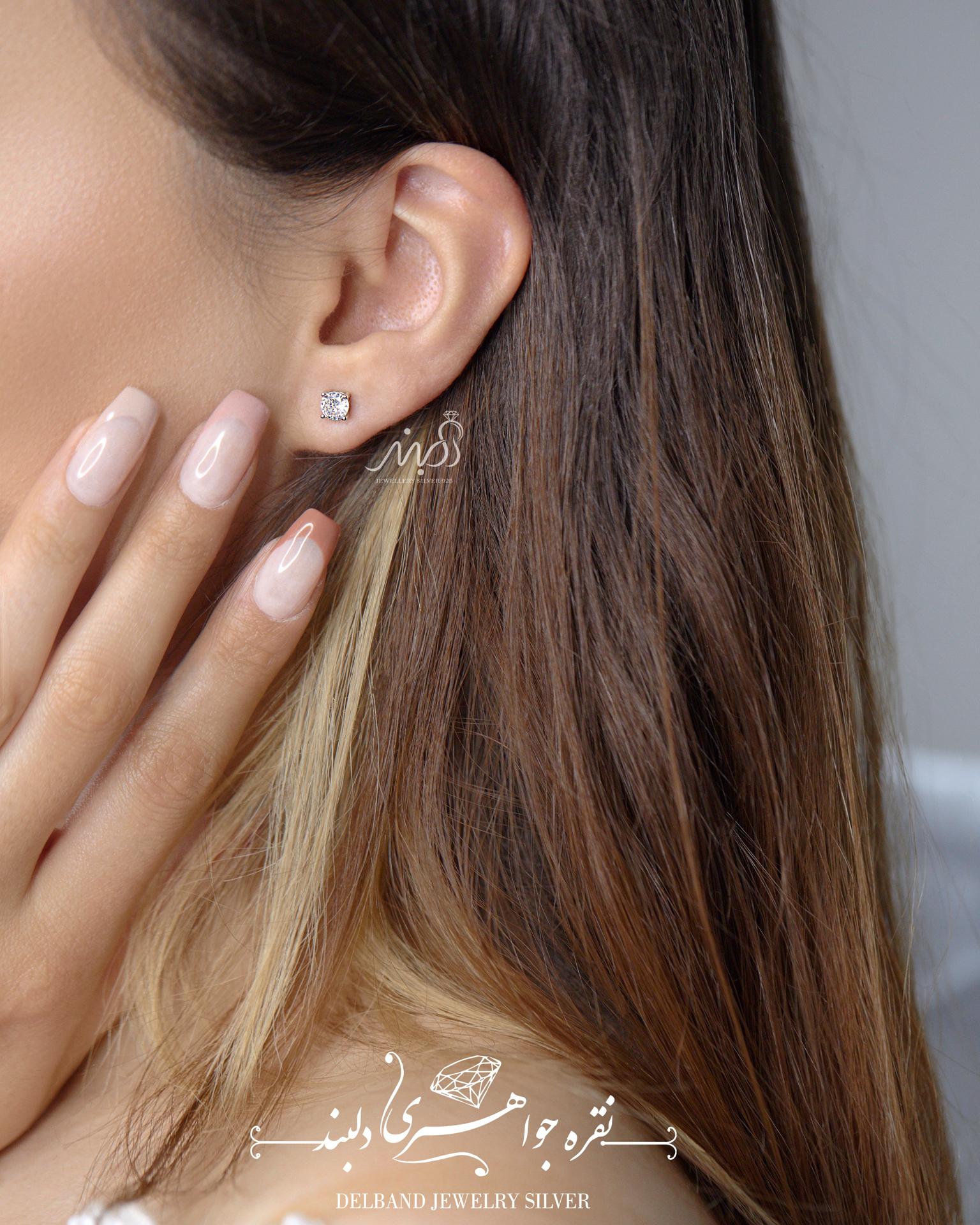 💍گوشواره جواهری ظریف تک نگین ؛ نقره عیار ۹۲۵ با روکش طلا سفید(E_5011)