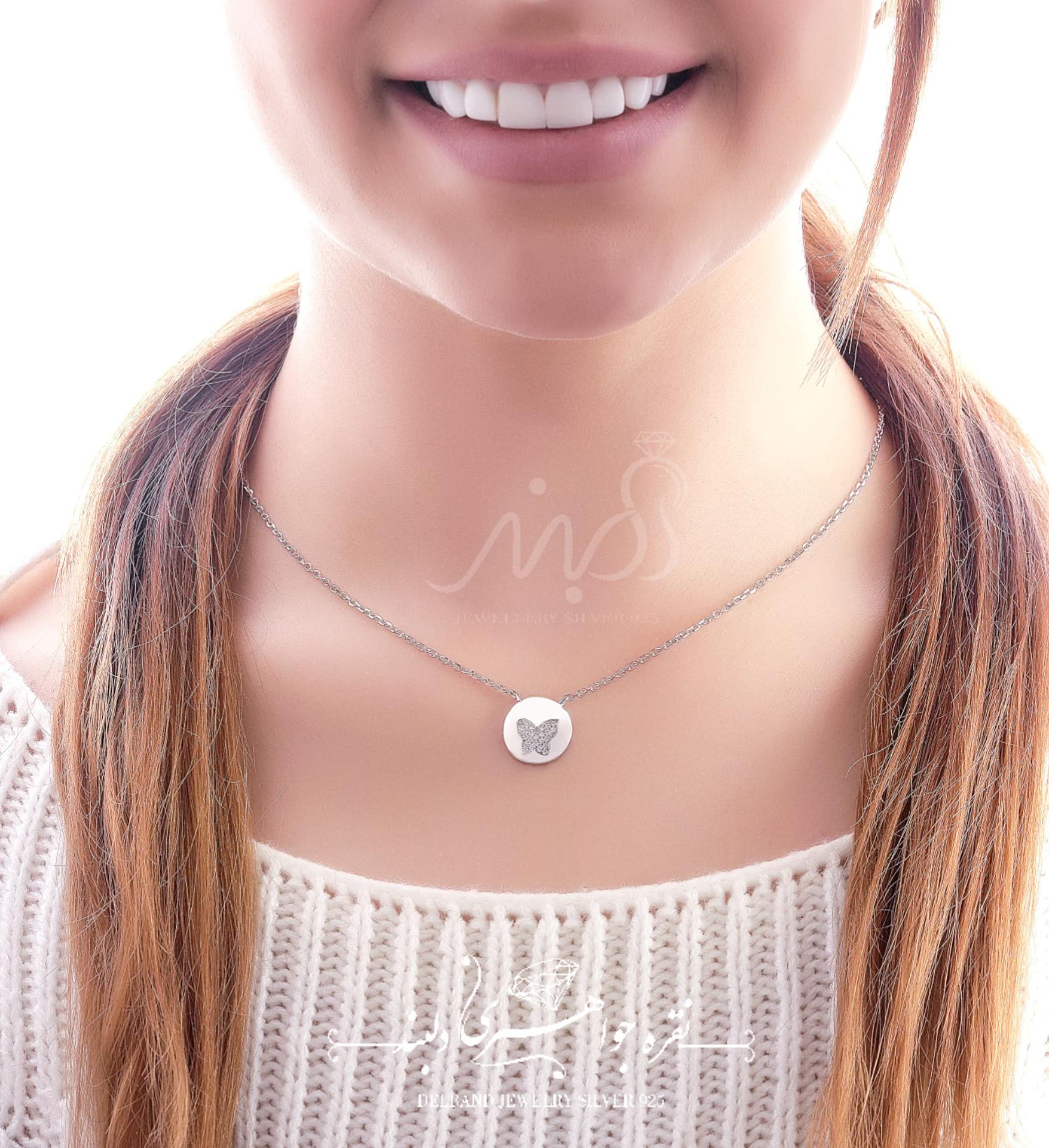 💍گردنبند طرح جواهر صدف و پروانه ؛ با طراحی زیبا و ظریف نقره عیار ۹۲۵ (G_3043)
