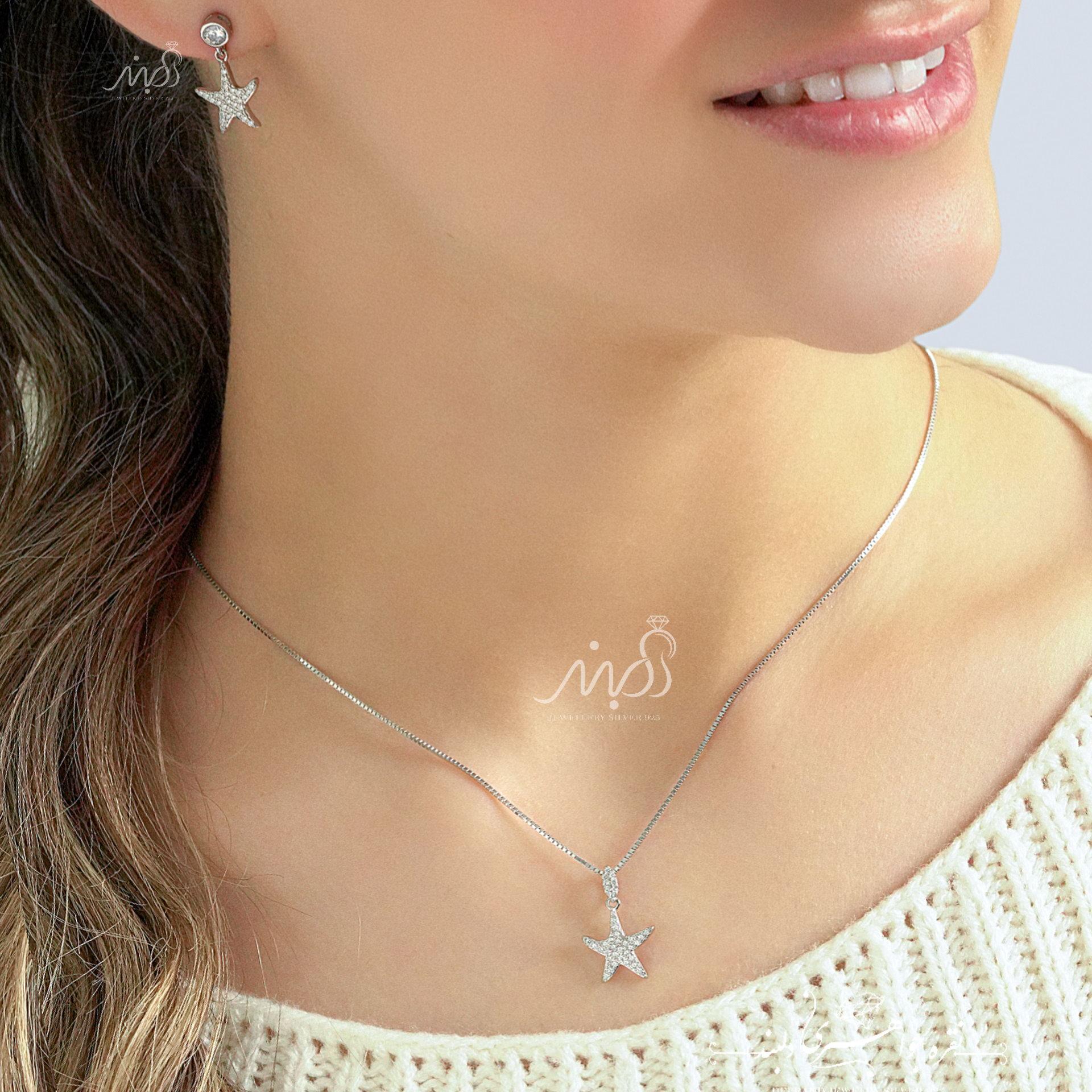 💍نیم ست جواهری ظريف و زیبا ستاره (آويز و گوشواره) با طراحی ژورنالی ؛ نقره عیار ۹۲۵ (N_4124)